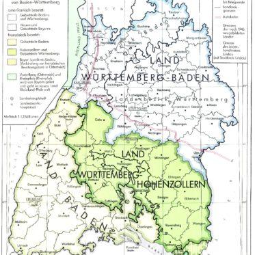 Die Karte zeigt Südwestdeutschland zwischen Kriegsende 1945 und der Bildung des Landes Baden-Württemberg. Südwestdeutschlands war dabei in drei Teilgebiete aufgeteilt: Das amerikanisch besetzte Land Würrtemberg im Norden, das französisch besetzte Land Baden im äußersten Südwesten, sowie das gleichfalls französisch besetzt Land Württemberg Hohenzollern im Südosten.