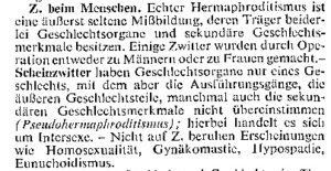 Brockhaus 1957, Artikel Zwittertum