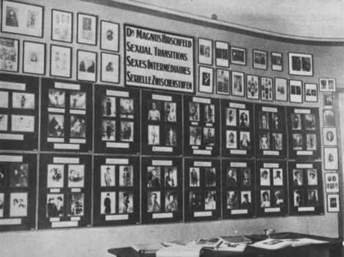 """Dargestellt ist ein altes schwarz-weißes Foto einer Porträt-Wand, die in oberster Reihe ein Schild mit der Aufschrift """"Magnus Hirschfeld - Sexuelle Zwischenstufen"""" zeigt. Der Schriftzug """"Sexuelle Zwischenstufen"""" ist dabei an erster Stelle in englischer, an zweiter in französischer und an dritter Stelle in deutscher Sprache abgedruckt. Jeweils links und rechts von jenem Schild, hängen zwei untereinander angeordnete Reihen kleinerer Bilder, die aber alle einen Rahmen etwa gleicher Größe haben. Die zwei Reihen unter dem Schild haben insgesamt acht Rahmen, in welchen jeweils vier Fotos auf schwarzem Grund angeordnet sind. Jedes der Bilder hat offenbar eine Beschreibung, wobei durch die Entfernung diese unleserlich und jene Bilder nur erahnt werden können. Die Porträt-Wand rundet sich im letzten Achtel des Bildes in die Rauminnenseite ab, an welcher nach einer zusätzlich senkrecht angebrachten Reihe von kleineren Porträts ein Türrahmen deutlich wird. In der rechten unteren Hälfte ist die Arbeitsfläche eines Schreibtisches zu erkennen, die mit aufgeschlagenen Büchern bedeckt ist."""