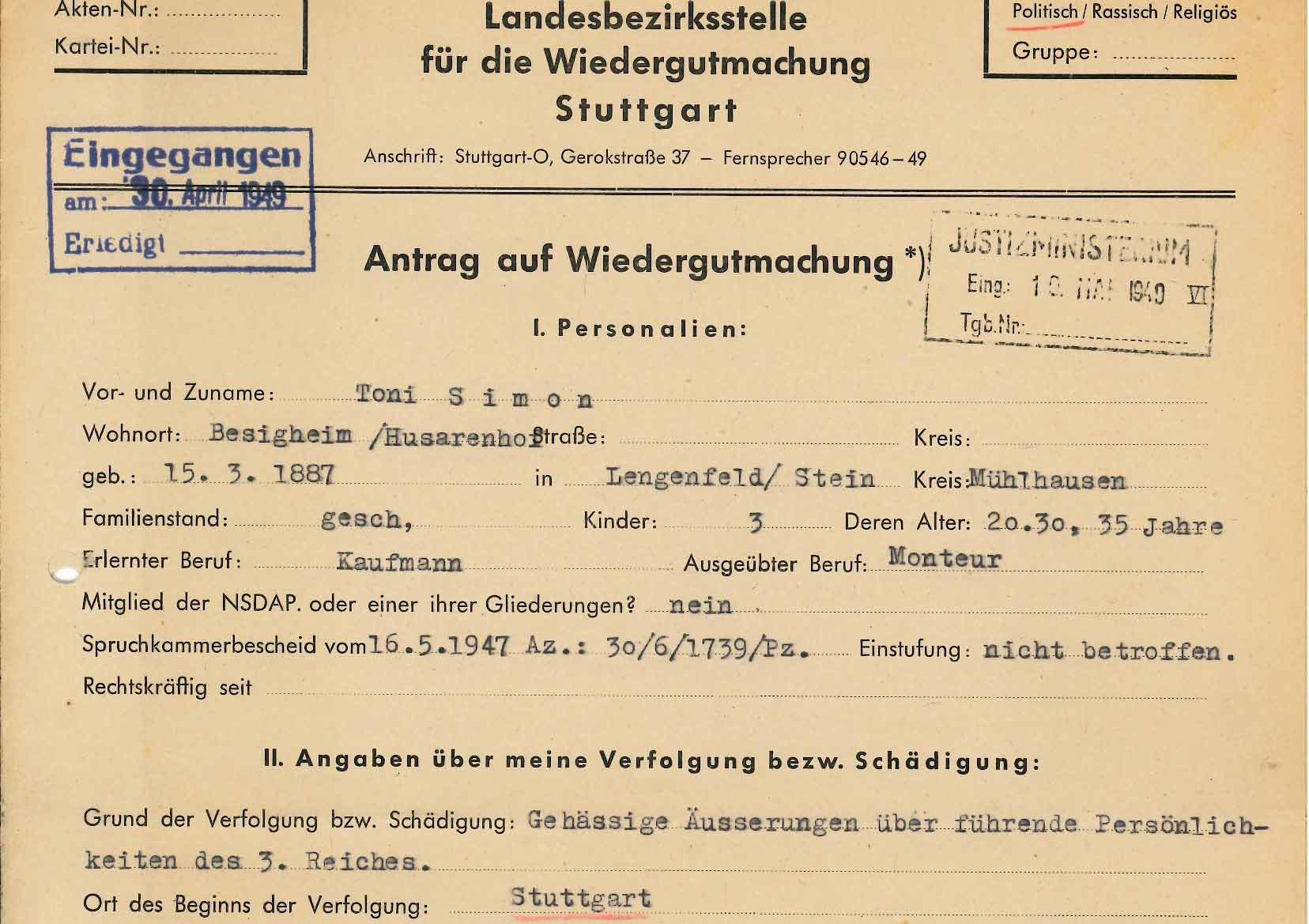 Wiedergutmachung von Transvestiten und Damenimitatoren nach 1945 - LSBTTIQ  in Baden und Württemberg